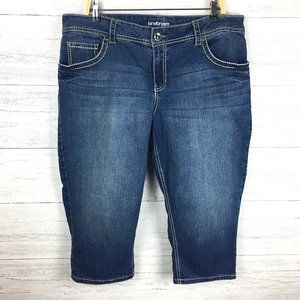 Lane Bryant  Denim Crop Pants Bling Back Pockets